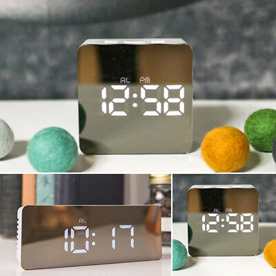 Modern Mirror Digital LED Snooze Alarm Clock Time Temperature Night Mode Exotic