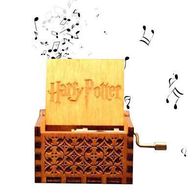 Harry Potter Engraved Wooden Music Box Toys Hand Operated Kids Adult Xmas Gifts
