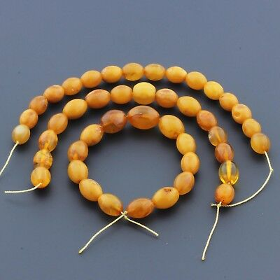 Natural Baltic Amber Loose Beads Strings Set of 3pcs. 36gr. Olive ST1004