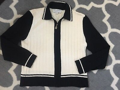 St John Collection by Marie Gray full zip up knit Jacket Ribbed size S cream blk