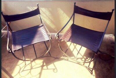 Vintage Wrought Iron And Leather Chairs -Set Of Two