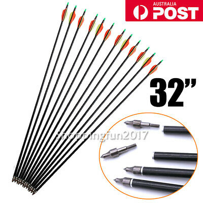"12x 32 "" Recurve Compound Bow 15-80 lb Fiberglass Arrows for Archery Crossbow X"