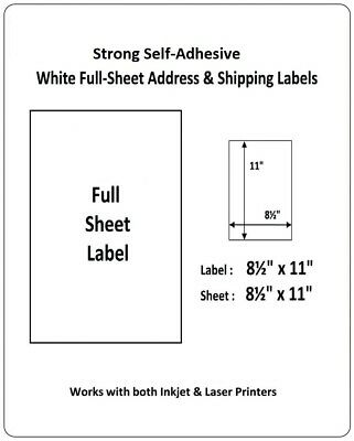 full sheet shipping labels 85 x 11 self adhesive usps ups fedex amazon fba