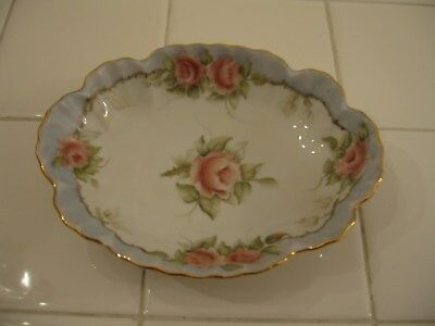 Beautiful Vintage Hand painted HP Candy Trinket Dish Blue With Peach Roses