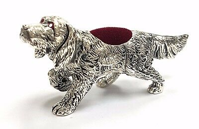 Antique Style Dog Pin Cushion With Ruby Eyes 925 Silver Plate
