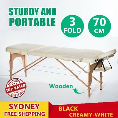 Wooden Portable Massage Table 3 Fold Beauty Therapy Bed Chair Waxing 70cm AUS RO