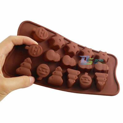 DIY Xmas Tree Snowman Star Silicone Cake Chocolate Pastry Cookie Soap Mold Tool