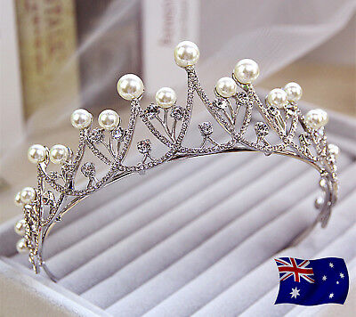 Women Silver color Pearl Wedding Bride Party Hair Headband Crown Tiara Prop