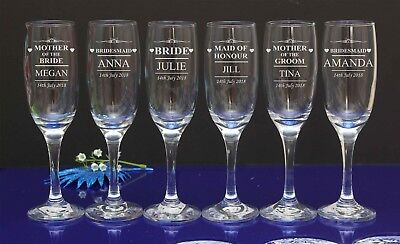 Personalised Engraved Flutes Glass Wedding Favour Gift Bridesmaid by jevge