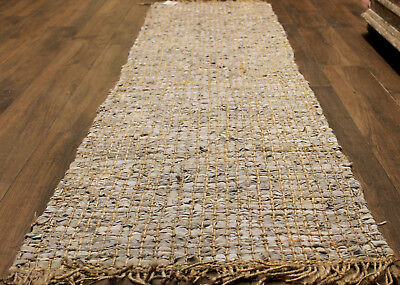 STUNNING Leather / Jute   Runner  Rug   * 3  m  x  0. 67  m *   BRAND NEW