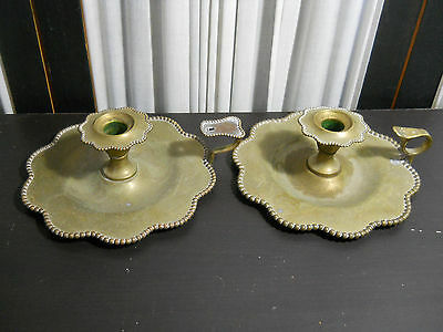 Vintage Ornate Solid Brass Bronze Double Candle Holder