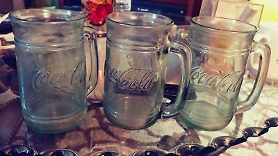"3 Vintage Coke -Coca Cola Glass Mugs With Handles Green Tinted Glasses 5 1/2"" T"