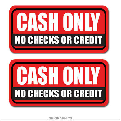 "2x Cash Only sticker / decal / business / register / checks / 8"" / 3M / window"