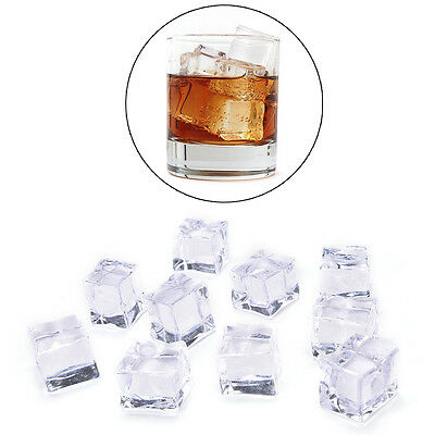 10PCS/Pack Fake Artificial Acrylic Ice Cubes Crystal Clear 2/2.5/3cm SquareUK ST