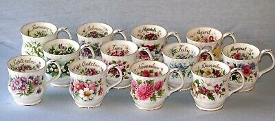 Royal Albert ' Flower Of The Month  ' Mugs - English Bone China