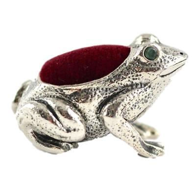 Collectable Victorian Style Frog Emerald Eyes Pin Cushion 925 Sterling Silver