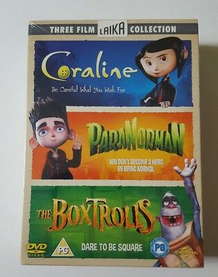 The Box Trolls Paranorman Coraline Dvd Box Set 3 Film Laika Collection Xmas Gift