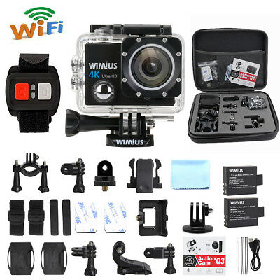 WiMiUS 16MP 4K Wifi Waterproof Action Camera HD Cam DV +2.4G Remote Control+bag