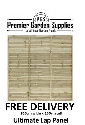 6ft x6ft Ultimate Euro Lap Fence Panel Garden Wooden Fencing RRP £35 treated