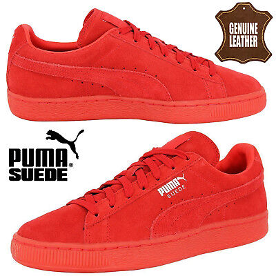 PUMA Mens Classic Retro Suede Leather Ladies Trainers Unisex Mono Iced Red Shoes