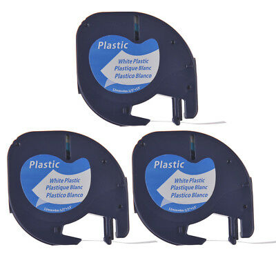 3PK Compatible For DYMO LetraTag LT 91331 Black on White plastic Label Tape 12mm
