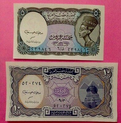 2 EGYPT Paper Money 5 & 10 Piastres UNC