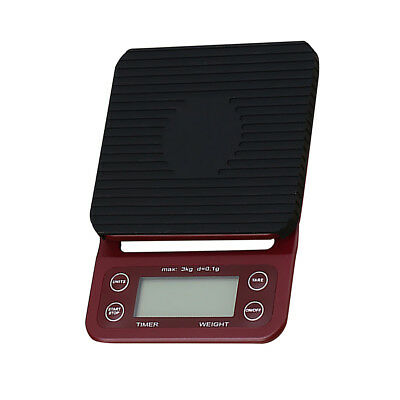 3kg/0.1g Coffee Drip Scales/Timer Food Scales Coffee Measuring Tool Red