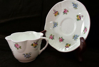 SALE!  Crown Staffordshire England Floral Bouquet China Cup Saucer Scalloped