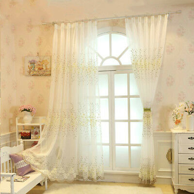 Tulle Voile Door Window Curtains Embroidery Drape Panel Sheer Scarf Divider Home