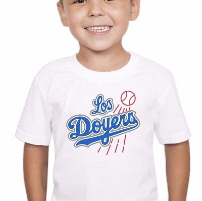LOS DOYERS Spanish Humor Los Angeles Dodgers White Tee for Toddler Kid Child