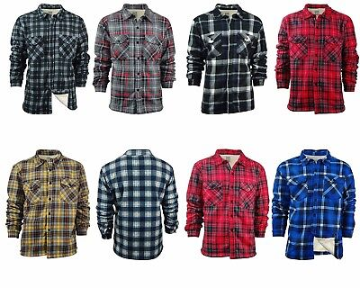 Big & Tall Men's Plaid Shirt Jacket With Sherpa Fleece Lining | Button Up Front