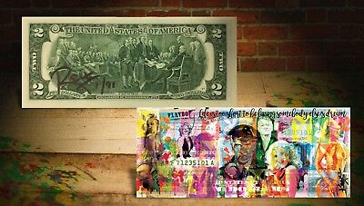 PLAYBOY Life is Short Banksy/Rency ART GENUINE US $2 Bill HAND-SIGNED LTD to 91