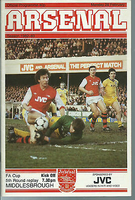 Arsenal Vs Middlesbrough Football Programme,f.a.cup Replay,february 28 1983