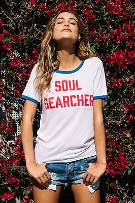 NEW Spiritual Gangster Women's Soul Searcher Ringer Tee White/ Pool Size X-SMALL