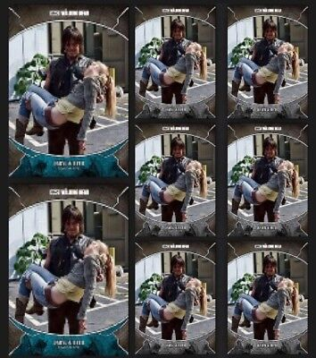 DARYL DIXON & BETH-TRAGEDIES-2x BLUE+6x GRAY-TOPPS WALKING DEAD TRADER DIGITAL