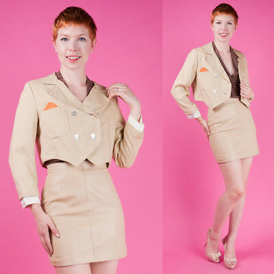 NATURAL LINEN Vtg 50s 60s Cropped Tuxedo Blazer Bolero Suit Coat/Jacket XS/S