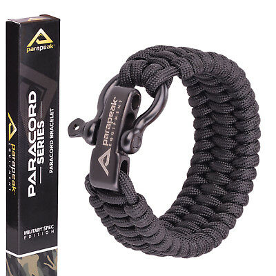 Parapeak Paracord Survival Bracelet Stainless Steel Black MIL SPEC 550+ Cord UK