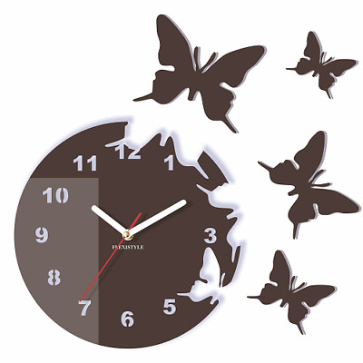 Modern Dark Brown Butterflies Large Wall Clock Home Living Room Bedroom Round