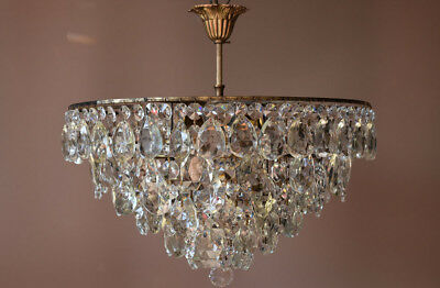 Antique Pendant French Crystal Art Nouveau Chandelier FLUSH old Lighting Fitting