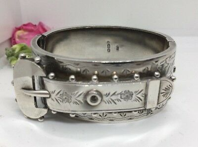 Victorian Antique Sterling Silver Buckle Bangle Bracelet Ornate Pretty