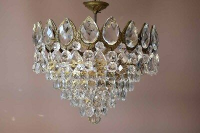 Antique Pendant French Crystal Art Nouveau brass lamp FLUSH old Lighting Fitting