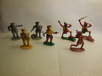 Vintage Timpo Solid Cast Wild West Indians & Cowboys Plastic Toy Soldiers 1:32