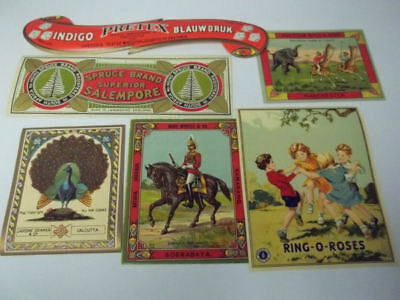 23 Different  Vintage English Fabric Advertising Labels..Very graphic..