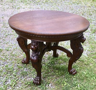 Victorian Carved Oak Winged Griffin Table With Claw Feet