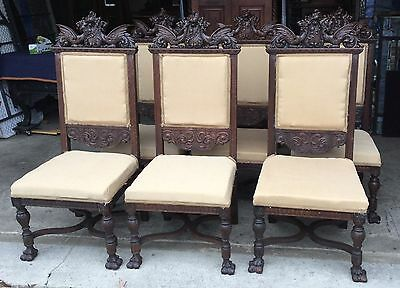 Set Of 6 Carved Oak Winged Griffin Dining Chairs