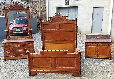 Faux Bamboo 3 Piece Marble Top Bedroom Set