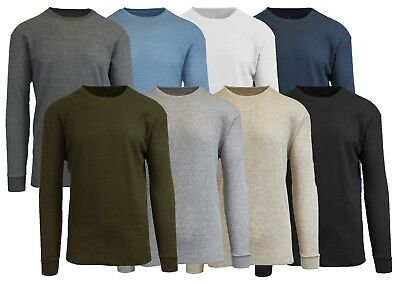 Mens Thermal Shirt Tee Long Sleeve Crew Waffle Lounge Warm Layer Colors T-shirt