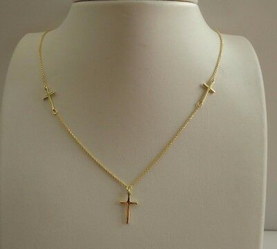 Three Cross Necklace Pendant / 14K Yellow Gold Over 925 Sterling Silver / 18''