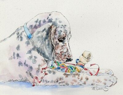 ENGLISH SETTER Original Watercolor on Ink Print Matted 11x14 Ready to Frame