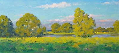 EVENING ON RIVER. SUMMER landscape by ALEXANDROVSKY, Original oil Painting RUSSI